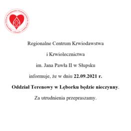 Oddział Terenowy w Lęborku nieczynny w dniu 22.09.2021